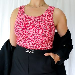 Red pink & beige 70s vibe floral print tank dress